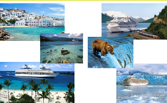 several pictures of sites that can be seen while on an ocean cruise.