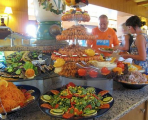 Picture of all of the food trays for a group travel event.
