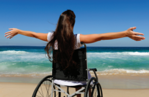 picture of girl with special needs vacationing