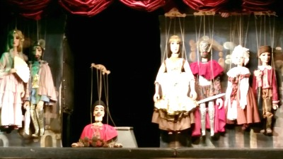 Picture of a marionette show taken for a child's travel journal.